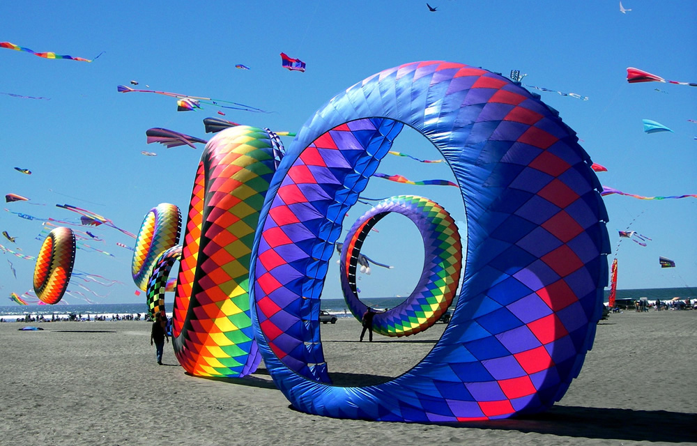 colorful kites on beach