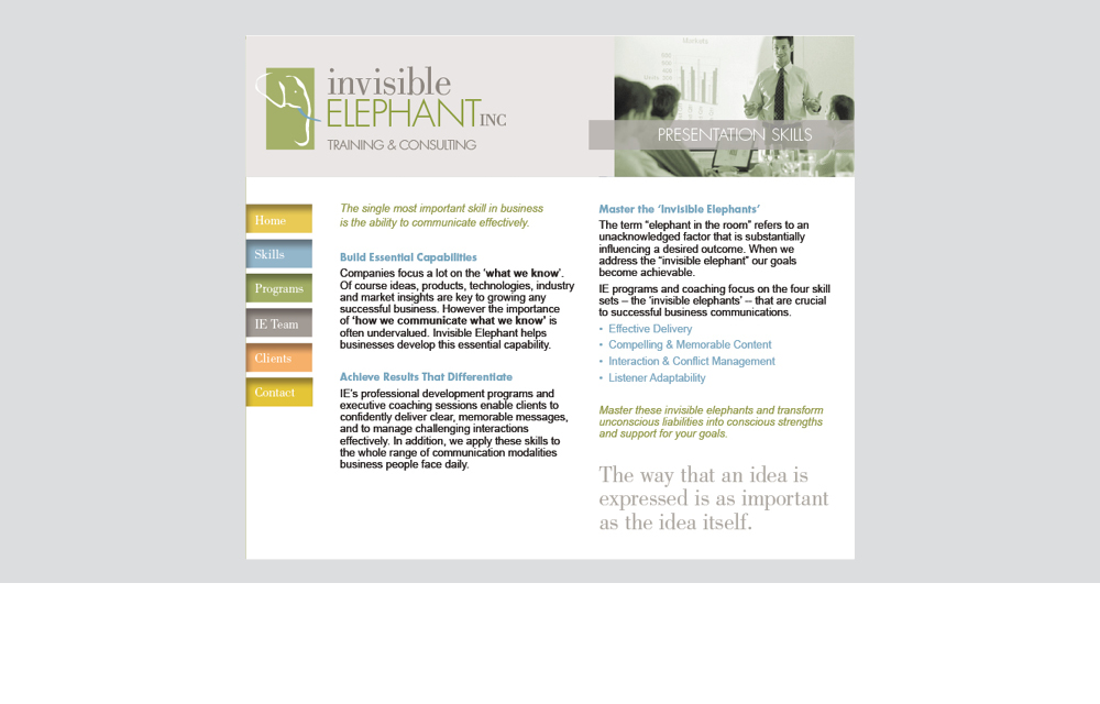 invisible elephant website design
