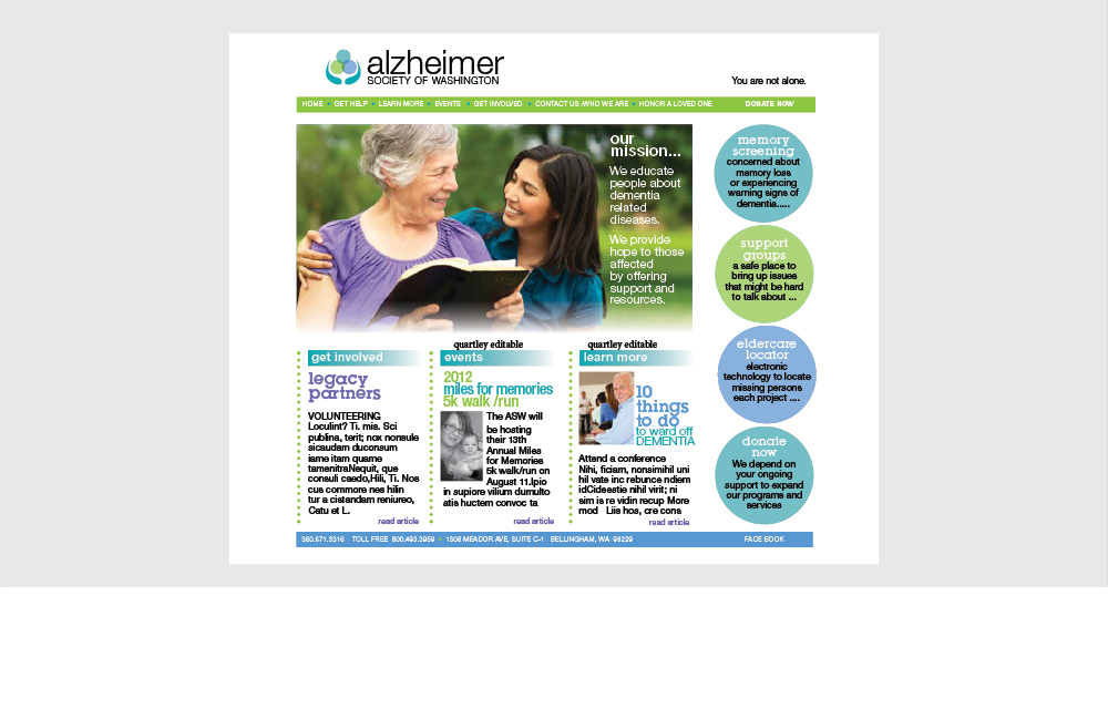 alzheimer society of washington website design