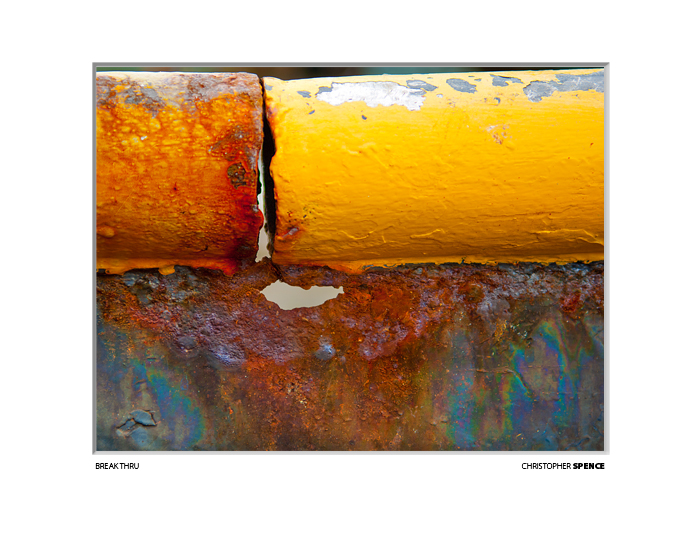 abstract photo yellow paint and rust