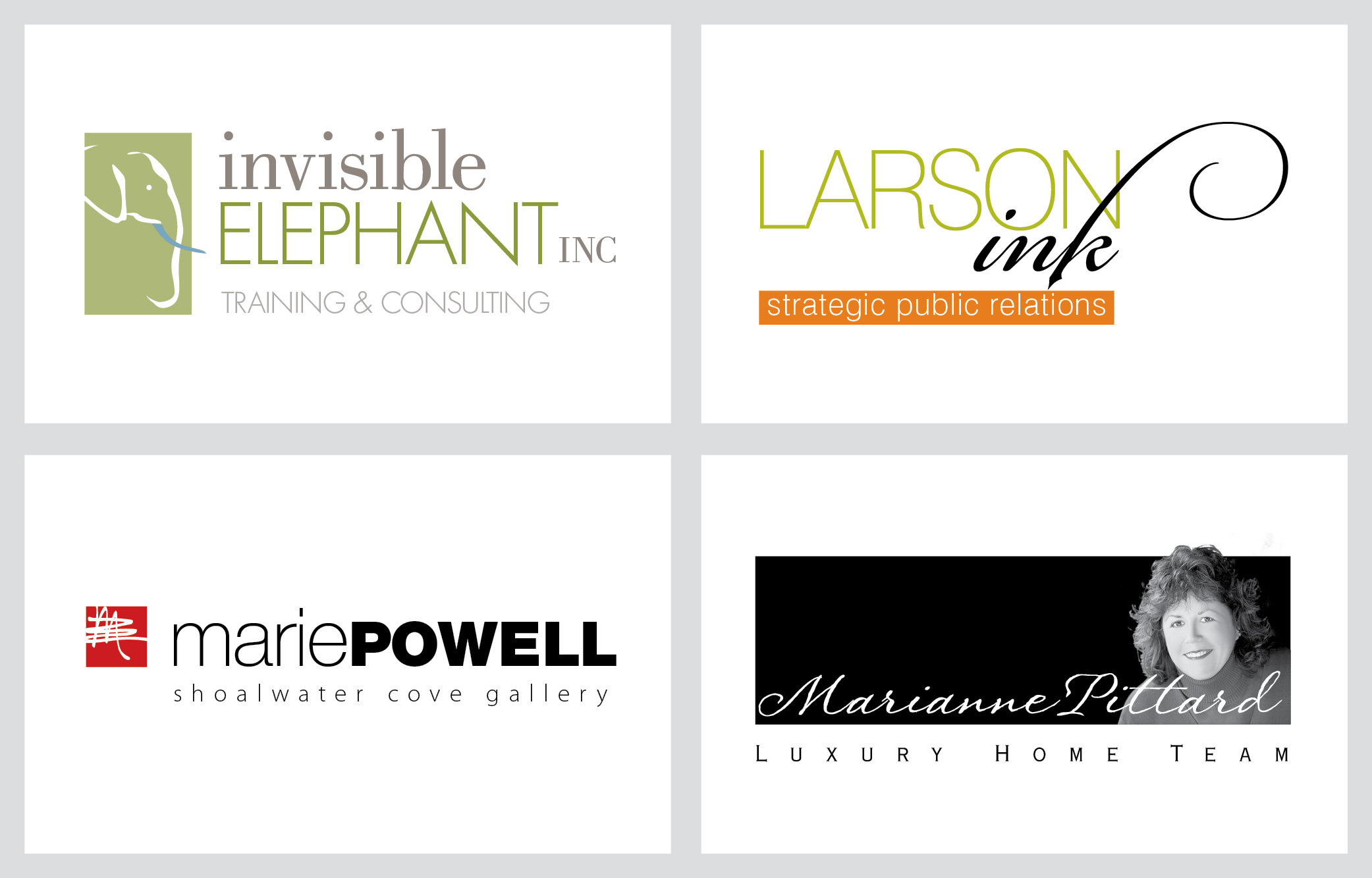 invisible elephant, larson inc, marie powell, marianne pittard luxury home team logo examples