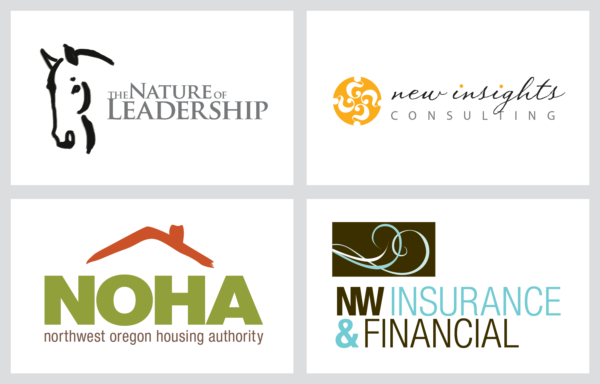 noha, nw insurance and financial logo examples