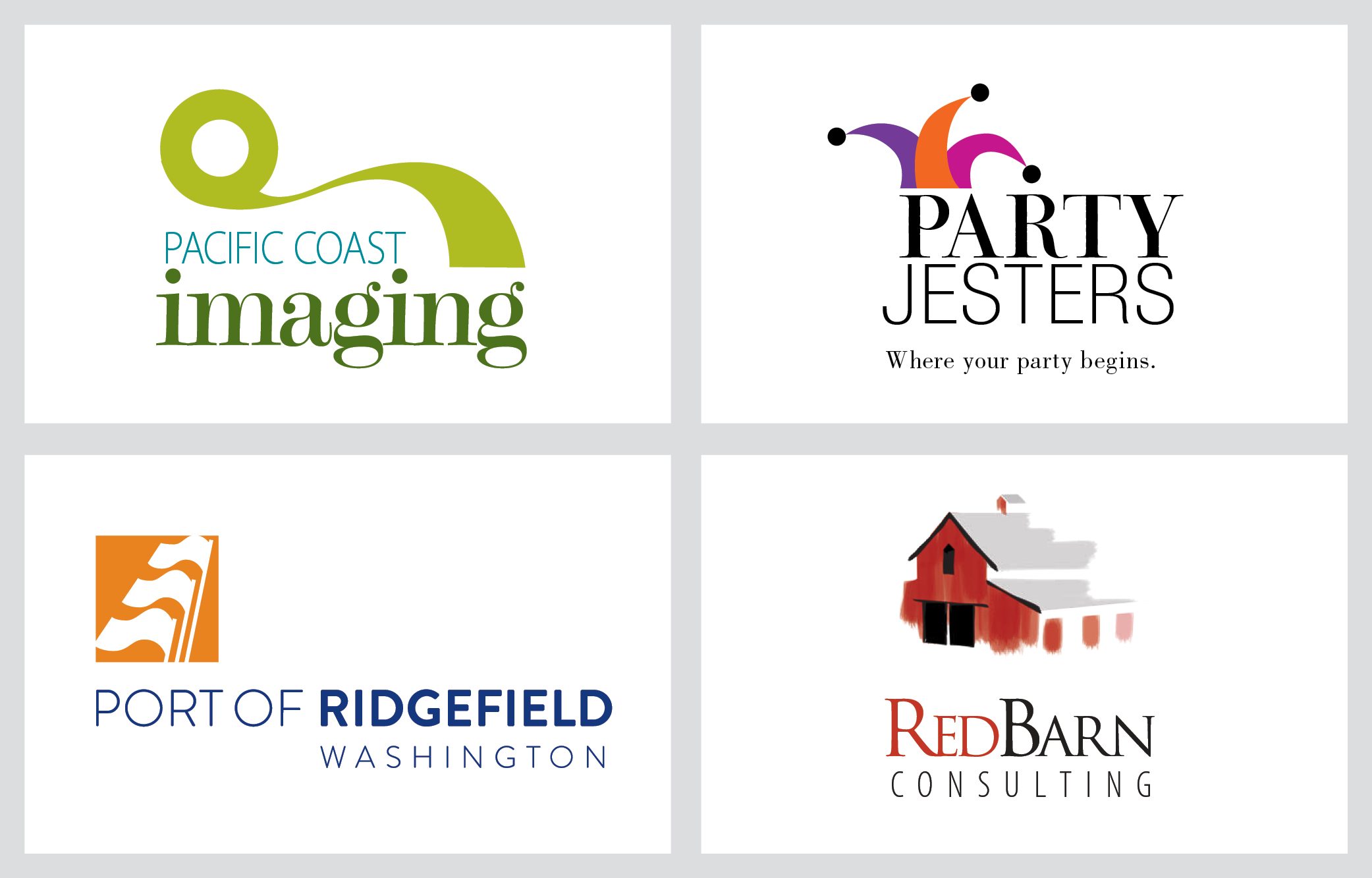 pacific coast imaging, party jesters, port of ridgefield, red barn logos