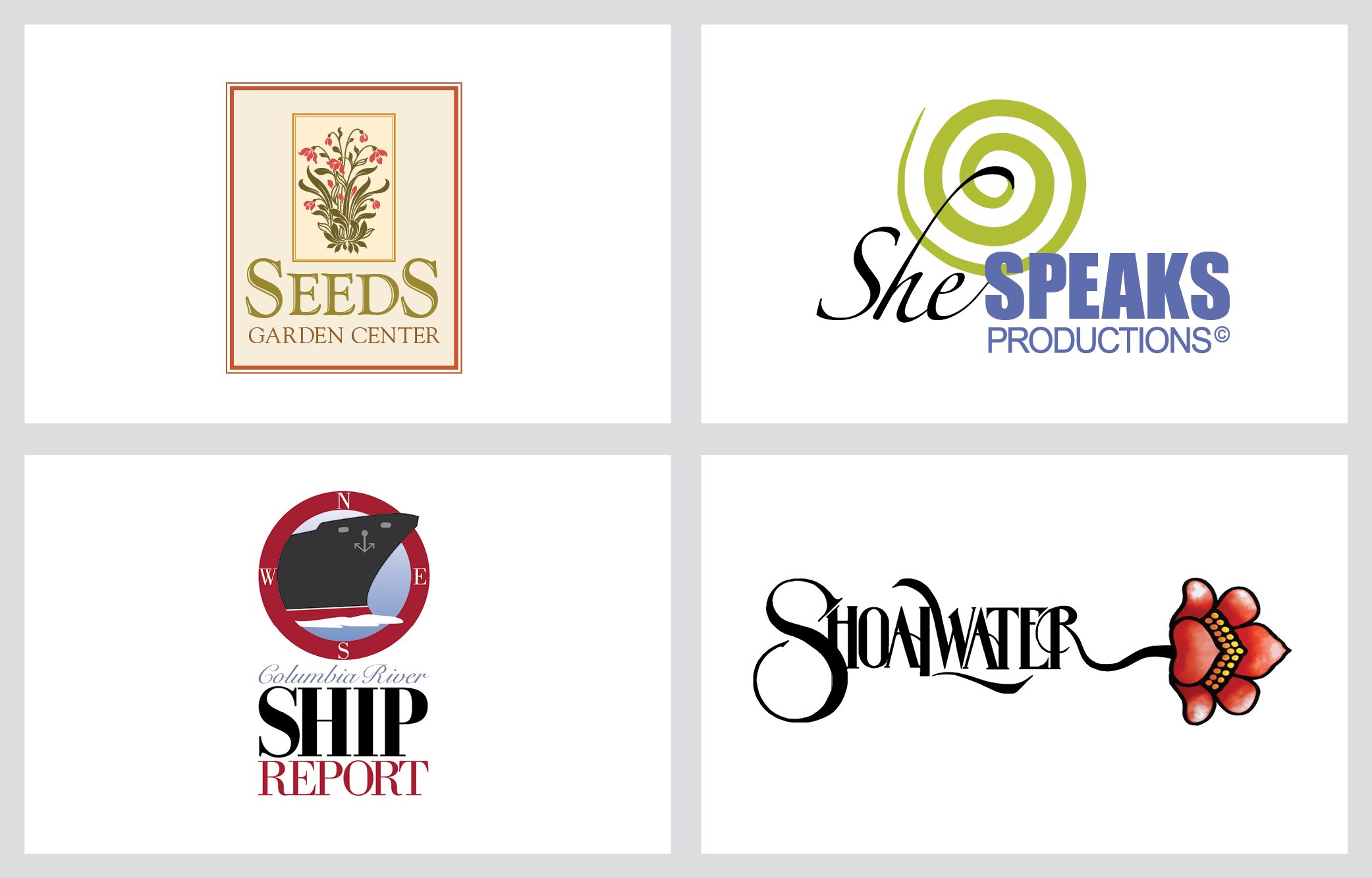 seeds garden center, she speaks productions, ship report, shoalwater logo examples
