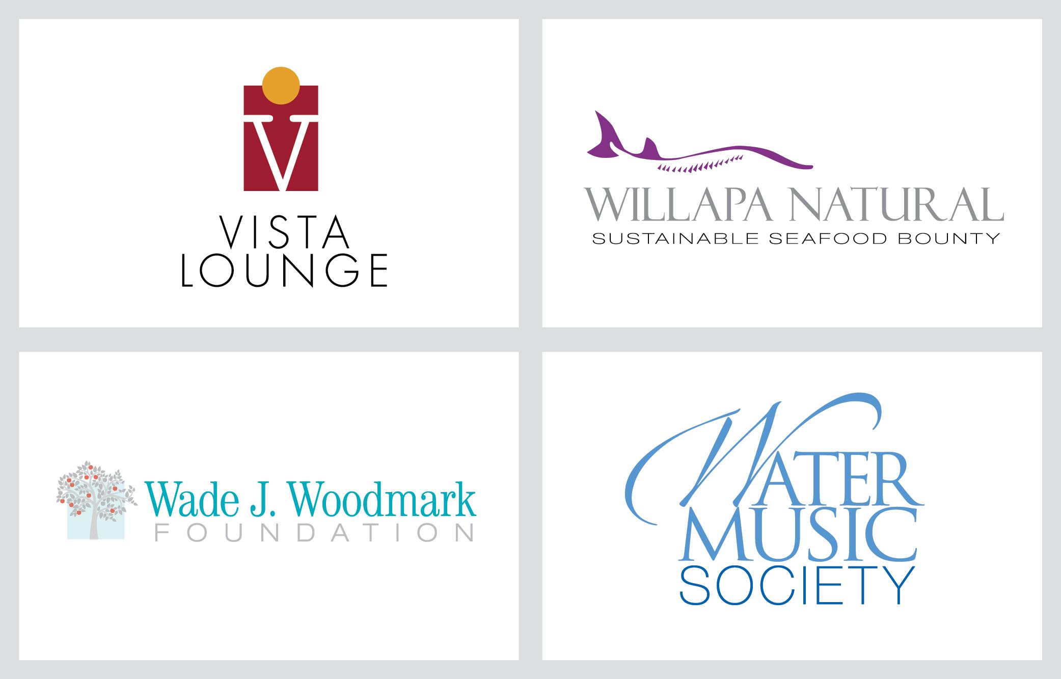 vista lounge, willapa natural, wade j woodmark, water music society logos