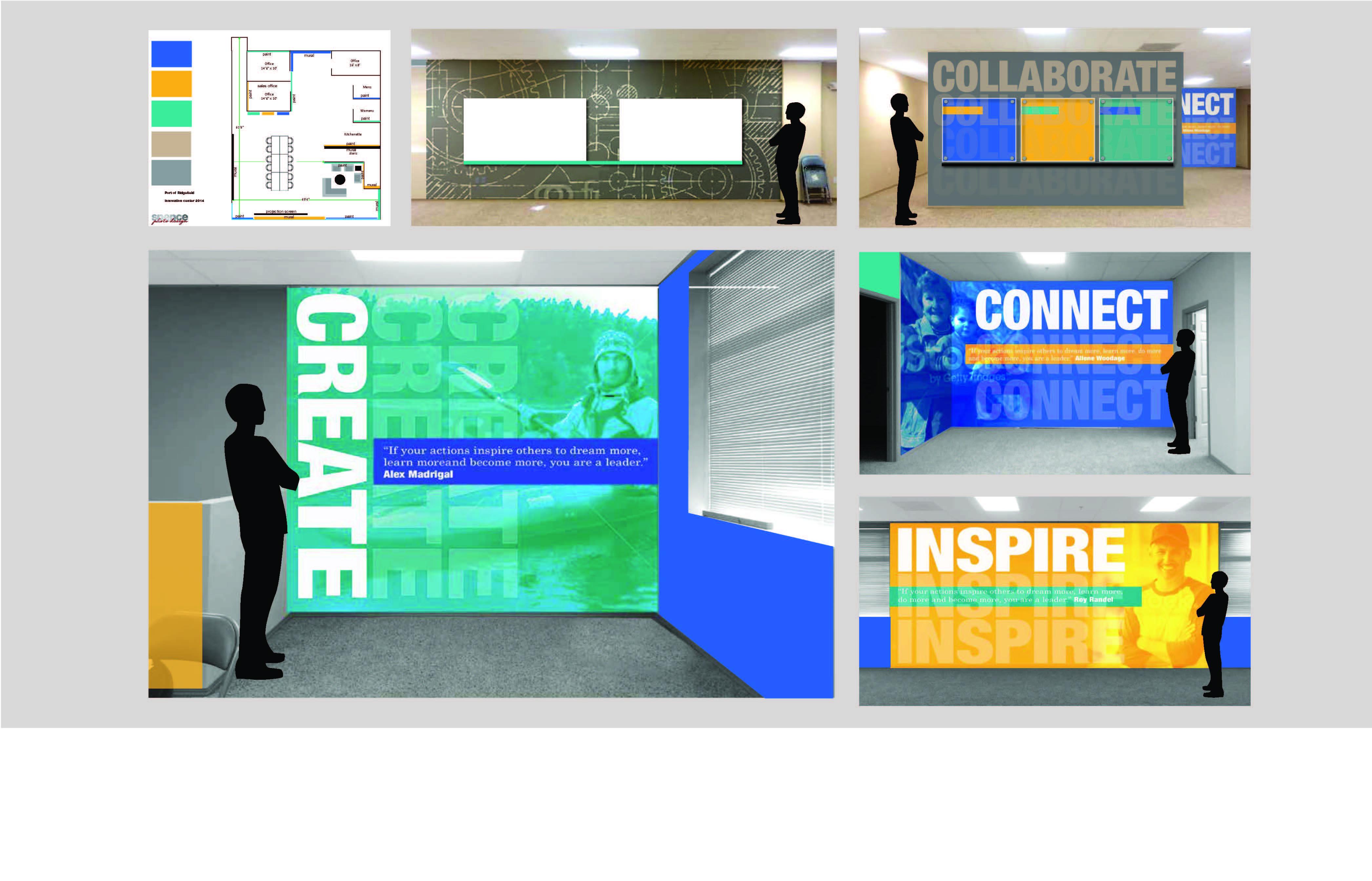 connect, collaborate, create, inspire murals