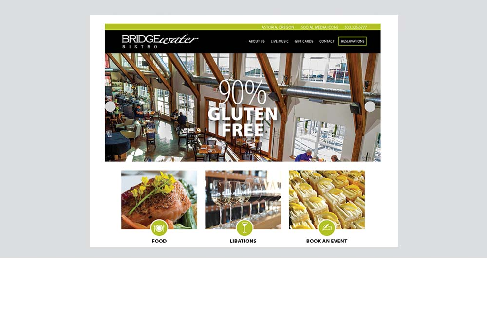 Bridge Water Bistro website design