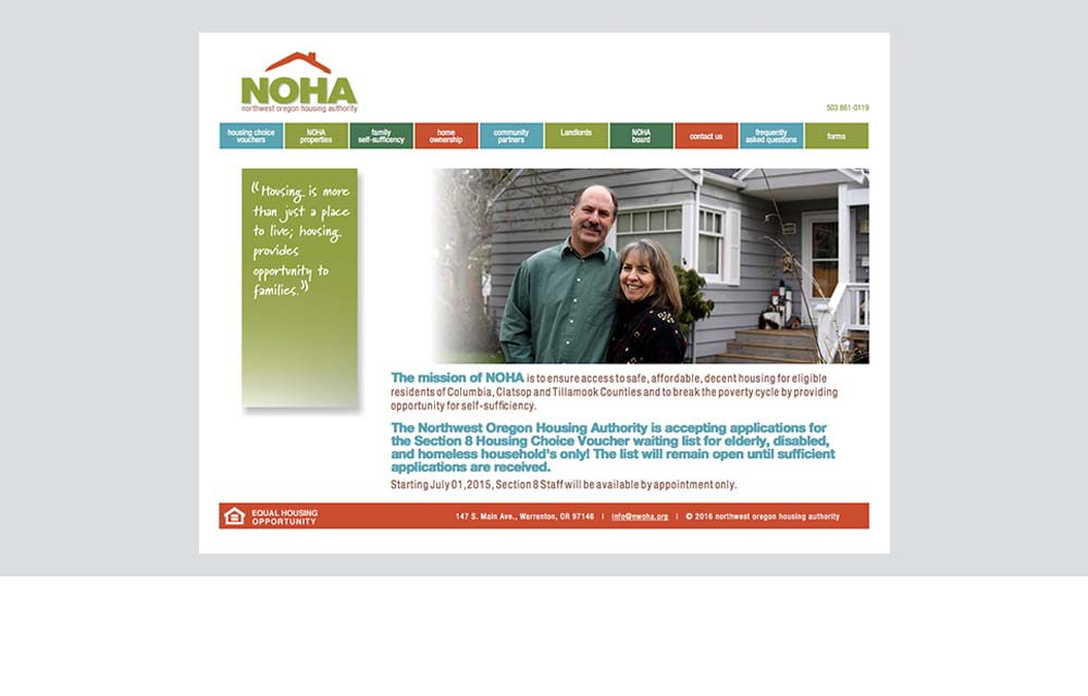 NOHA website design